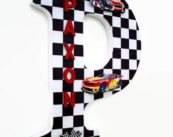 Racing Wood Letter -  Boys Race Cars Wall Letter - Nursery Decor - Boys Race car Decor - Personalized Boys Cars Bedroom - Gifts for Boys