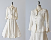 Vintage 1940s Brocade Wedding Dress Suit /  Wartime Bride / Princess Suit / Frank Starr Ruth Goude Original