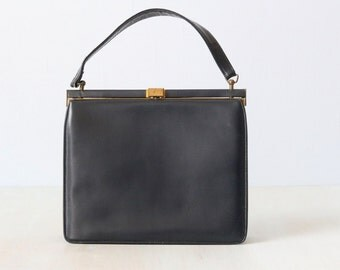 Vintage 1960s Navy Leather Top Handle Frame Handbag / Bright Red Lining