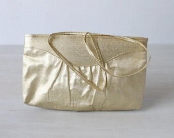 Gold Purse / Gold Clutch / Metallic / 1960s Evening Handbag / Optional Strap / Gilded