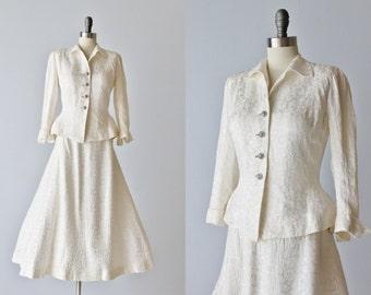 Vintage 1940s Brocade Wedding Dress Suit /  Wartime Bride / Princess Suit / Frank Starr Ruth Goude Original