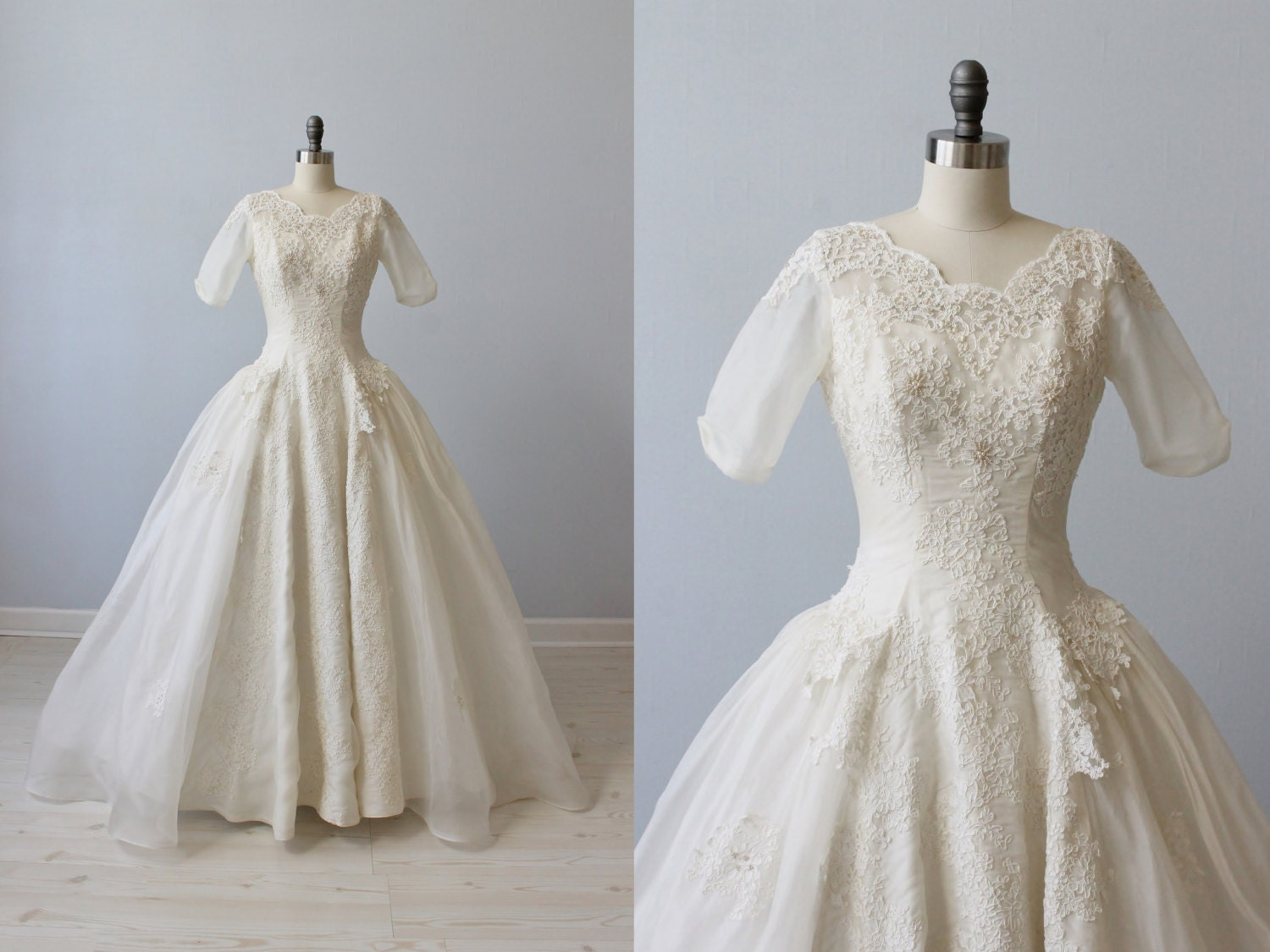 1950s wedding dress silk organza wedding by thevintagemistress