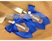 Elite Satin Cake Server Set with Rhinestone Accent ..You Choose The Bow Colors..shown in royal blue cobalt/silver gray
