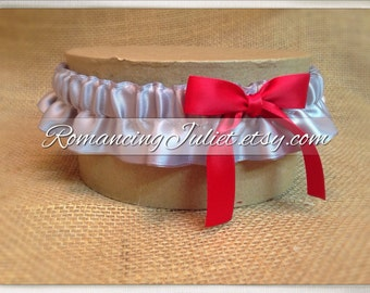 Satin Skirted Satin Bridal Garter...Custom Colors Available..shown in silver gray/red