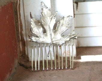 Vintage Upcycled Silver Leaf Hair Accessory Hair Comb Bridal Wedding