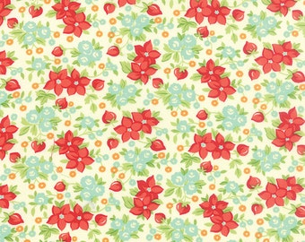 SUMMER SALE - 1 1/2 Yards - Quilt Backing Cut - Hello Darling - Wild Flowers in Cream (55118-14) - Bonnie and Camille - Moda Fabrics