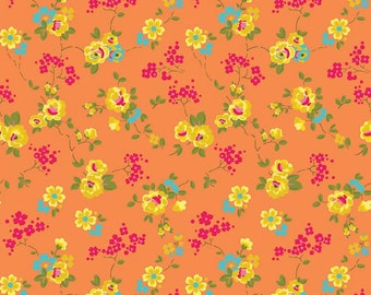 SUMMER SALE - 4 yards - Olivia - Floral in Orange - C4242-Orange - by Emily Hayes for Penny Rose Fabrics