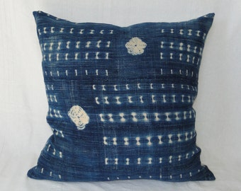 "24""  INDIGO African MUD CLOTH Batik Pillow Cover, mud cloth, tribal, boho"