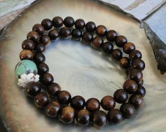 BURNT HORN with Turquoise Bead Bracelet, yoga, boho, tribal