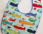 Baby Bib - Airplanes on Blue Minky