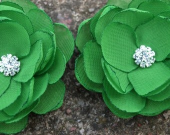 Grass Green Colored Flower Hair Pins - Brooches - Shoe Clips Set of 2