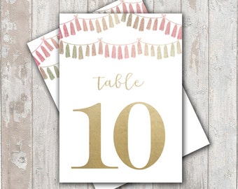 Table Numbers, DIY PDF files.... Tassel Garland with Faux gold foil
