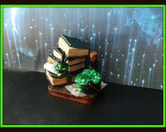dollhouse miniature Gothic Witch Spell tray frog Potion ooak Glows in Dark Can be custom made too