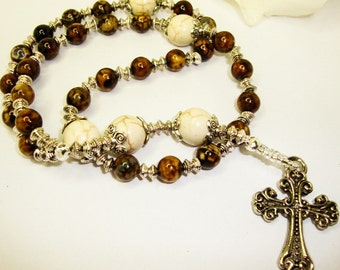 Anglican Rosary, Protestant Rosary, Prayer Beads, Brown Flower Agate