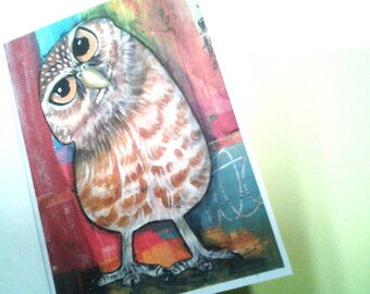 Owl Card, Burrowing Owl, Curious Owl, A2 Card