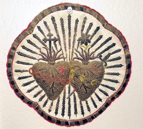 RARE Antique Sacred Heart Embroidery Metallic Silk Applique