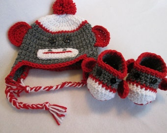Baby sock monkey hat booties gray red white