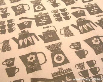 SALE Emily Pickle Retro Kitchen Screen Printed Tea Towel in Grey - housewarming, wedding, christmas, birthday gift - grey