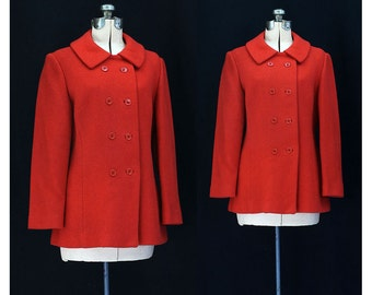 Vintage 60s Cheeriest of Reds Jacket - Waist 35.75 inches