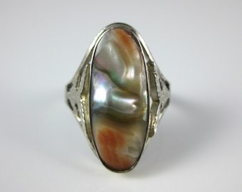 Ring, Size 7.5, Sterling Silver, Blistering Abalone Shell, Rainbow Color, Vintage, Colorful Silver Ring, Signed Stamped