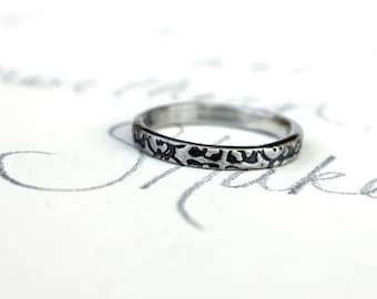 tudor rose wedding band . thin recycled silver wedding band . engraved silver wedding band ring . rustic wedding band by peaces of indigo