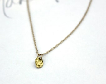 gold necklace . rustic 14k gold necklace . tiny petite pendant necklace . be quote jewelry . ethical gold necklace jewellery . ready to ship