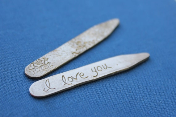 sale I love you recycled bronze collar stays . vine engraved mens collar stays . gift for him dad guy men groom . ready to ship