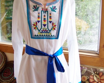 Embroidered Blouse, White Cotton Tunic, Long sleeve Blouse, Embroidered Tunic, XL