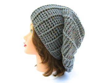 Pewter Gray Hat - Women's Crochet Hat - Slouchy Beret Tam - Tweed Beanie - Wool Blend Headwear - Crochet Accessories