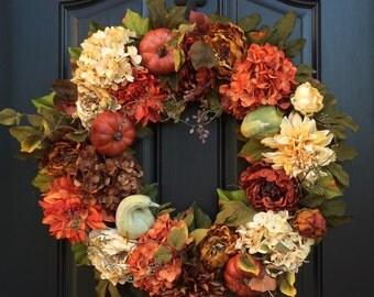 Wreaths, Wreath, Fall Gourd and Pumpkin Wreath, XL Fall Wreaths, Thanksgiving XL Wreath, Front Door Wreaths,Thanksgiving Wreath,Autumn Decor