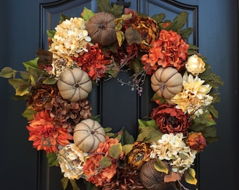 Wreaths, Wreath, Burlap Pumpkin Wreath, XL Fall Wreaths, Thanksgiving XL Wreath, Front Door Wreaths,Thanksgiving Wreath,Autumn Decor