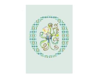 O is for Octopus Alphabet Animal Art Print // Nursery Art School Classroom Baby Shower Gift // 13x19, 8.5x11, or 5x7