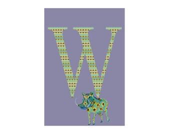 W is for Warthog - Art Print - Nursery Art - Alphabet Animals - 13x19, 8.5x11 or 5x7