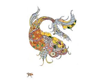 Beautiful Koi Fish Open Edition Art Print from Original Boho Pattern //13 x 19, 11 x 14, 8.5 x 11, 8 x 10, 5 x 7
