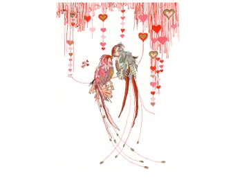 Matted Valentine's Lovebirds- limited edition print from original