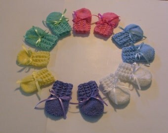 Knitted Baby Mittens, Yellow,  Pink, Blue, White, Purple, or Green
