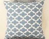 Pillow Cover Decorative Pillow Cover in Cashmere Blue Quatrefoil Home Decor Fabric Invisible Zipper 5 Sizes Available
