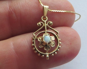 RESERVED for Preemadonna, Opal Filigree Pendant alone w/out chain, 14K yellow gold,  free US first class shipping