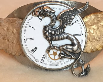 Silver Dragon with Golden Wings Cuff Bracelet