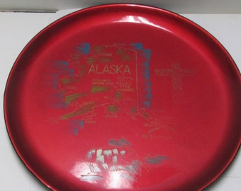 Lacquer Tray Vintage Japanned Lacquerware Tray Alaska Travel Souvenir Crison Red Japan Lacquered Tray