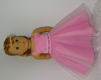 Pink Party Dress, Fits 18 Inch American Girl Dolls