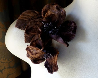 BROWN Double Velvet Millinery Flowers for Bridal Fascinators, Corsages, or Sashes, Costumes