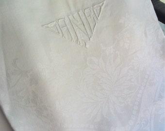 "Irish Linen Tablecloth Double Damask  with Monogram ""ANE"" 108"" x 72"" Vintage 1940's"