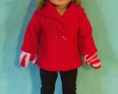 18 Inch Doll Red Coat with Mittens Hat & Boots