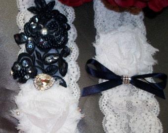 Lace Garter,Something Blue,Beaded Rhinestone Garter Set,Navy Garter Set,Bridal Garter Set,Plus Size Garter,Plus Size Bride