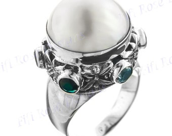 White Pearl Multi Stone 925 Sterling Silver Sz 7 Ring