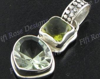 "1 5/16"" Green Amethyst Lemon Quartz 925 Sterling Silver Pendant"