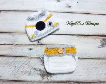 Newborn to 3 Month Old Baby Crochet Star Wars BB8 Droid Inspired Hat and Diaper Cover Set