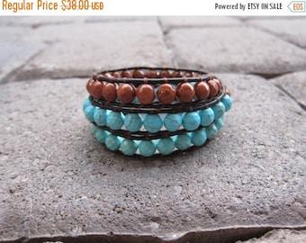 ON SALE Turquoise Triple Wrap Leather Bracelet