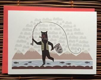 Fly Fishing Bear Greeting Card